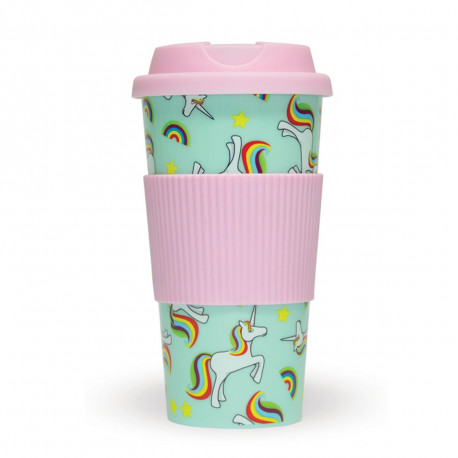 Buvez avec style dans ce mug de voyage mettant les licornes arc-en-ciel à l'honneur