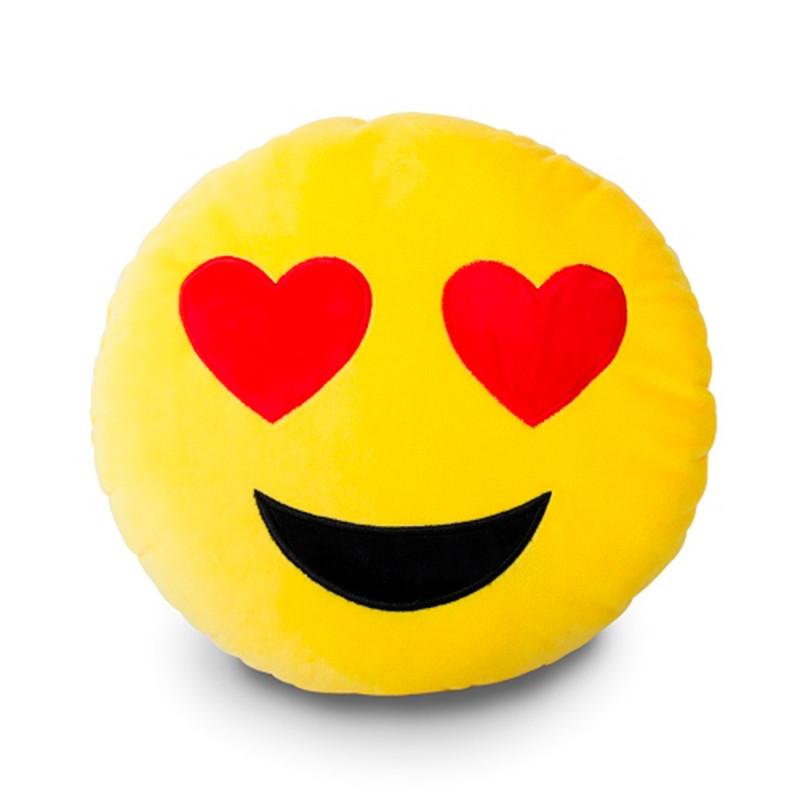 Coussin déco jaune Émoticône : cadeau Smiley sur Rapid Cadeau