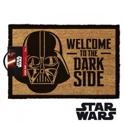 "Tapis d'entrée Star Wars mettant à l'affiche Dark Vador avec l'inscription "" Welcome to the Dark Side """