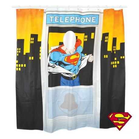 rideau de douche superman cabine t l phonique achat cadeau superman geek sur rapid. Black Bedroom Furniture Sets. Home Design Ideas
