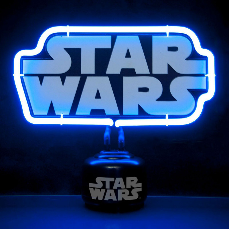 lampe star wars avec n on l 39 effigie du logo du film sur. Black Bedroom Furniture Sets. Home Design Ideas