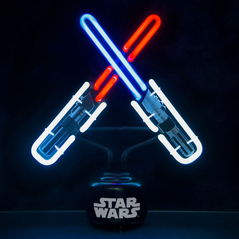 lampe sabre laser star wars avec n on bleu rouge et blanc. Black Bedroom Furniture Sets. Home Design Ideas