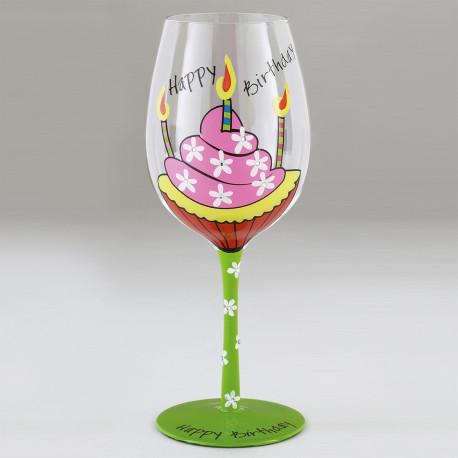 Verre vin fantaisie happy birthday peint sur rapid cadeau - Grand verre a pied pour decoration ...