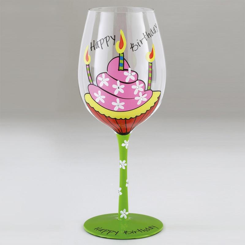 Verre à Vin Fantaisie Happy Birthday Peint Sur Rapid Cadeau