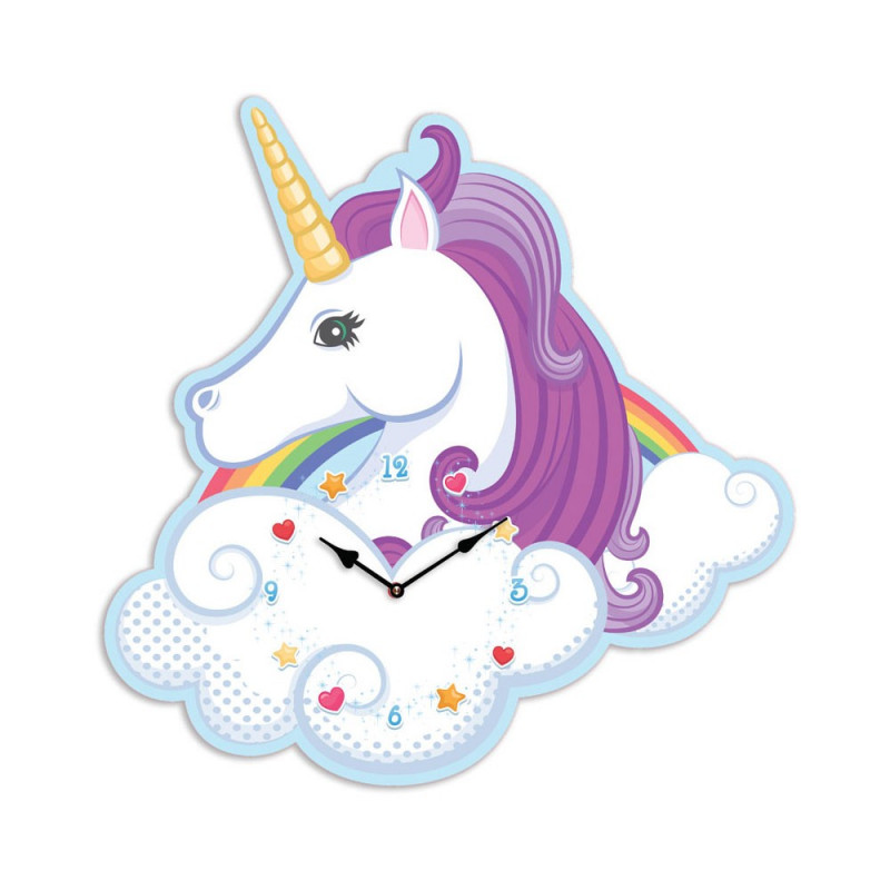 horloge murale pour chambre fille en forme de licorne sur. Black Bedroom Furniture Sets. Home Design Ideas