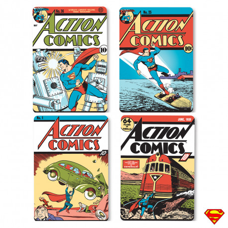 Sous-Verres Superman Action Comics - Lot de 4