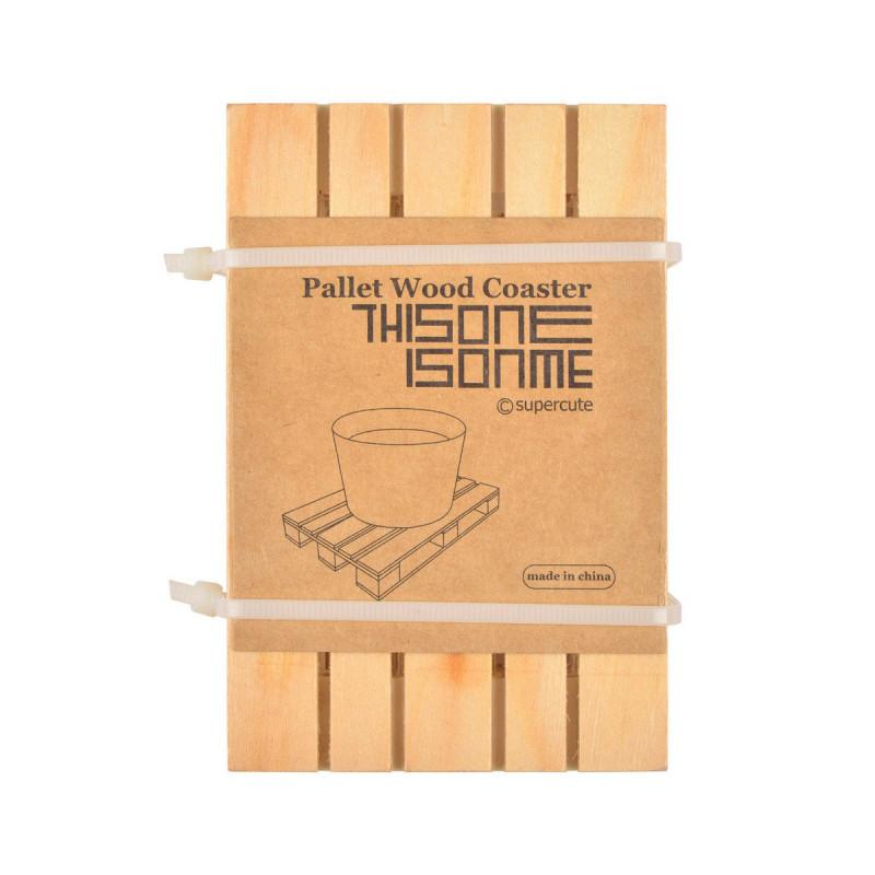 lot de 4 sous verres en bois recycl en forme de mini palettes sur rapid cadeau. Black Bedroom Furniture Sets. Home Design Ideas