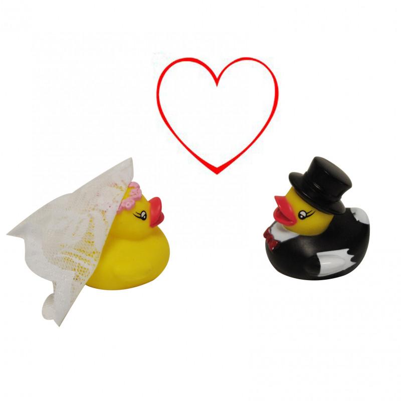 lot de deux canards de bain pour cadeau mariage sur rapid cadeau. Black Bedroom Furniture Sets. Home Design Ideas