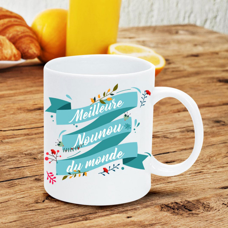 Idée Cadeau Pour Nounou Creche.Mug Meilleure Nounou Du Monde