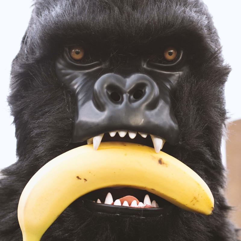 Masque de singe gorille avec bouche qui s'ouvre lorsque l