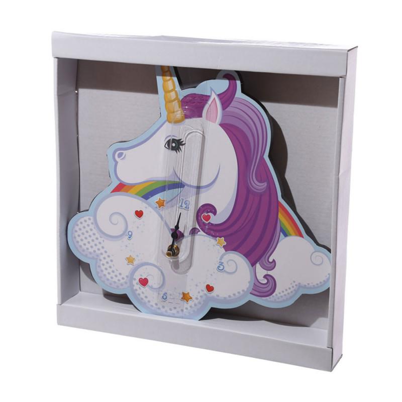 Horloge murale pour chambre fille en forme de licorne sur for Decoration licorne chambre