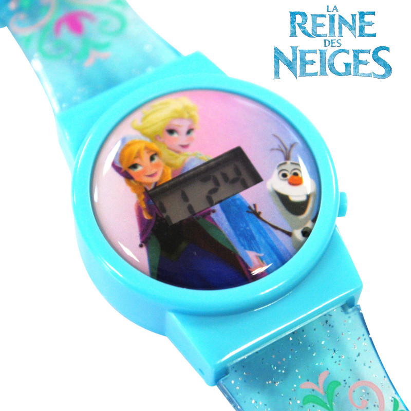 montre disney reine des neiges avec cran digital et effet. Black Bedroom Furniture Sets. Home Design Ideas