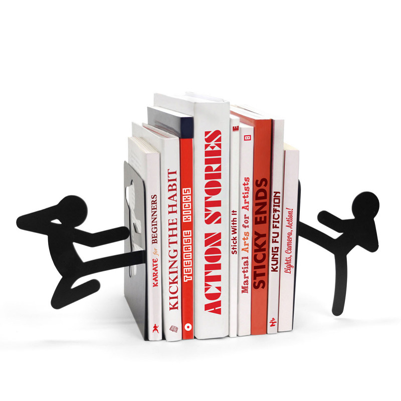 serre livres original en forme de ninja en m tal noir sur rapid cadeau. Black Bedroom Furniture Sets. Home Design Ideas