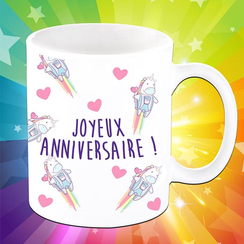 Mug Anniversaire Pour Femme Avec Motifs Licorne Girly Sur Rapid Cadeau