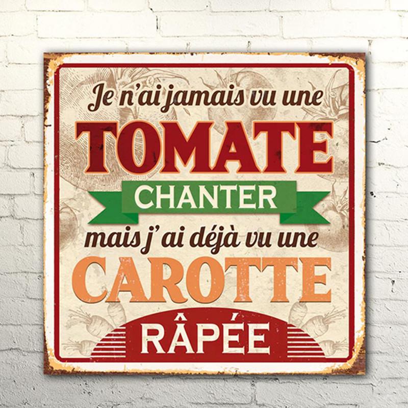 Plaque Metal Humoristique Tomate Et Carotte Pour Deco Cuisine Sur