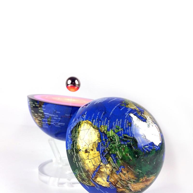 globe lumineux magn tique avec cro te terrestre et noyau qui l vite sur rapid cadeau. Black Bedroom Furniture Sets. Home Design Ideas
