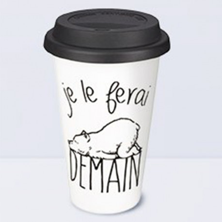 mug nomade en c ramique pour voyage l effigie d un ours sur rapid cadeau. Black Bedroom Furniture Sets. Home Design Ideas