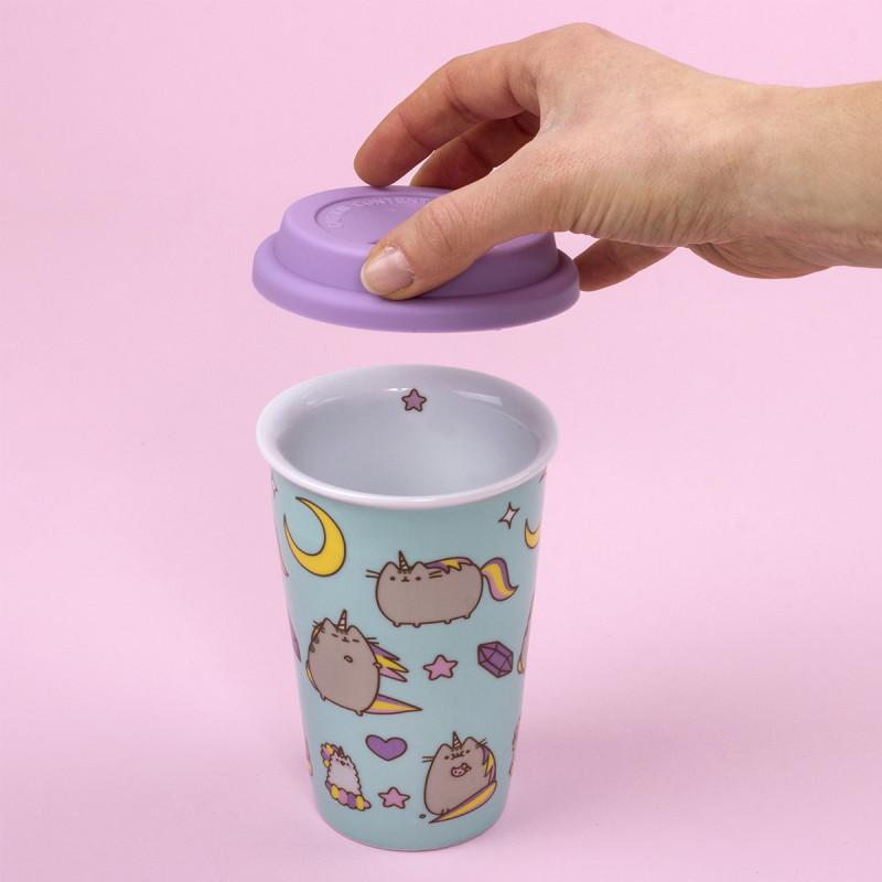 mug de voyage pusheen licorne avec double paroi c ramique sur rapid cadeau. Black Bedroom Furniture Sets. Home Design Ideas