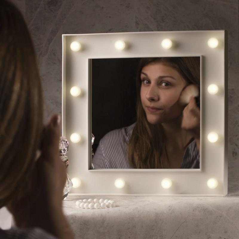 miroir de loge lumineux pour maquillage avec 12 boules lumineuses sur rapid cadeau. Black Bedroom Furniture Sets. Home Design Ideas