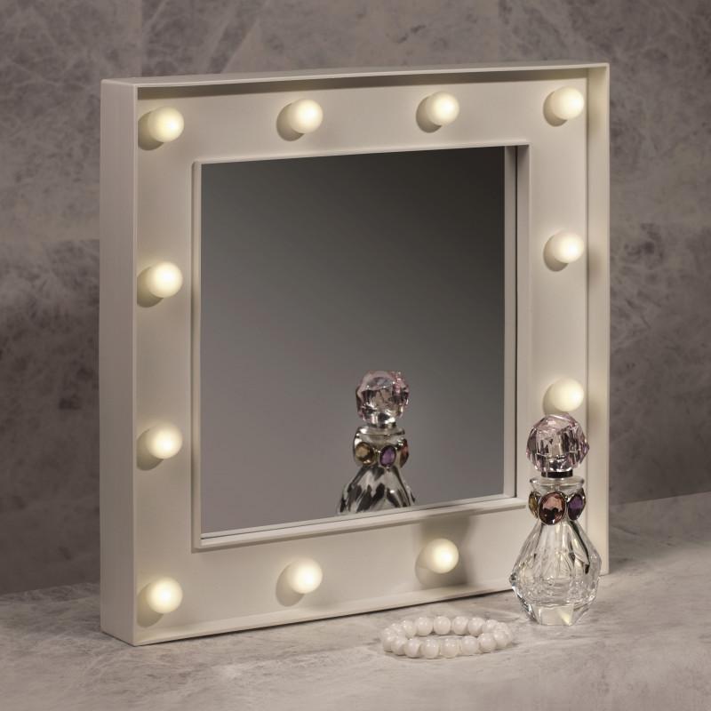 Miroir de loge lumineux pour maquillage avec 12 boules lumineuses sur rapid cadeau - Miroir de loge ...
