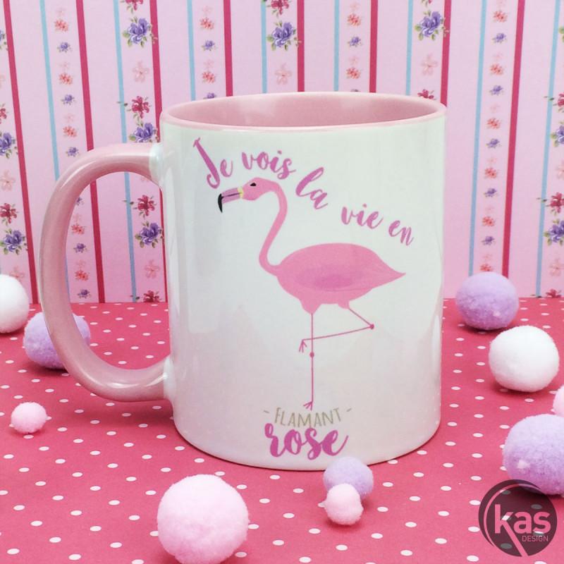 Mug Girly Avec Flamant Rose Et Slogan Je Vois La Vie En Flamant