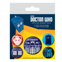 Pack de 5 Badges Dr Who Exterminate