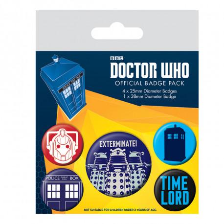 Pack de 5 Badges Dr Who Exterminate