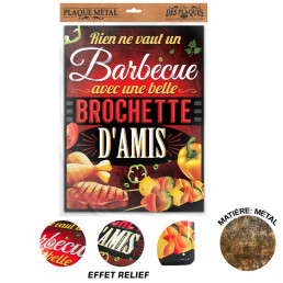 Plaque Metallique Barbecue Brochette D Amis