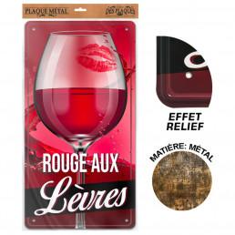 Plaque Métallique Verre Vin Rouge aux Lèvres