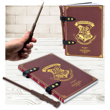 Set Carnet de Notes Harry Potter Poudlard et Stylo Baguette Magique