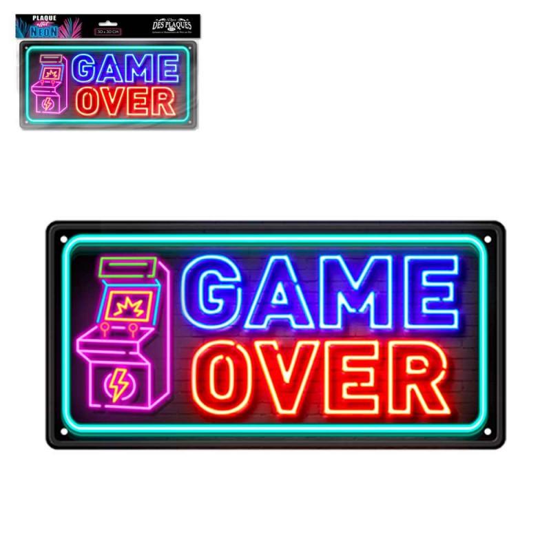 Plaque Métallique Game Over Effet Néon