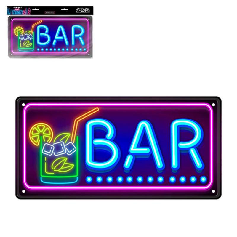 Plaque Métallique Bar Effet Néon