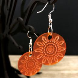 Boucles d'Oreilles Mandala Fleur Orange