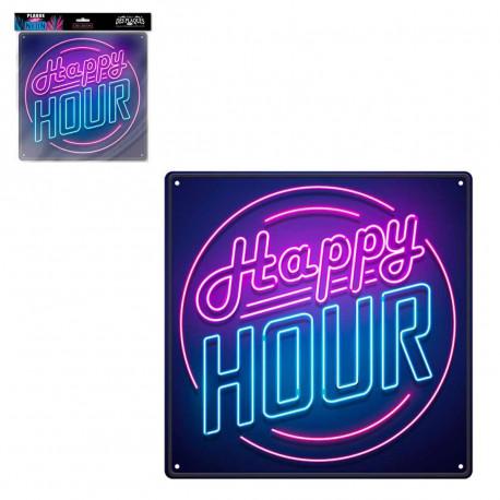 Plaque Métallique Happy Hour Effet Néon