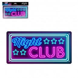 Plaque Métallique Night Club Effet Néon