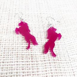 Boucles d'Oreilles Licorne Rose Fushia