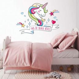 Sticker Mural Licorne Arc-en-Ciel - Fais de Beaux Rêves