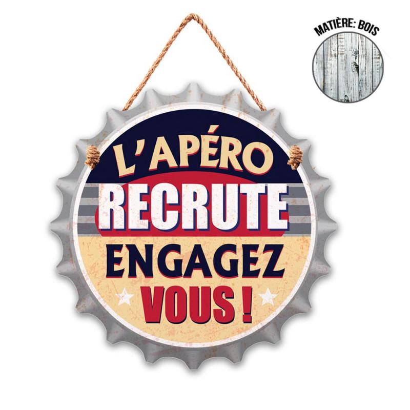 Plaque en Bois Capsule L'Apéro Recrute