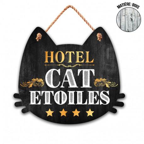 Plaque en Bois Chat - Hôtel Cat Etoiles
