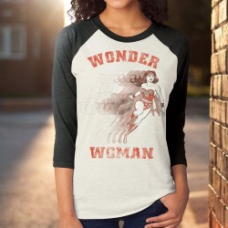 T-Shirt Wonder Woman Vintage Manches 3/4
