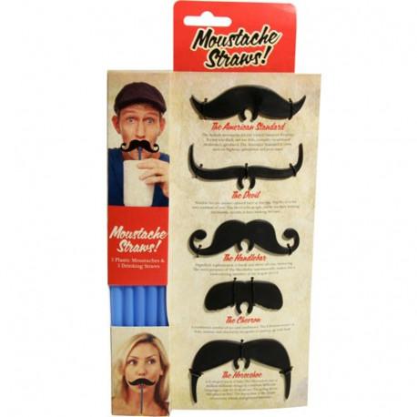 Faites une blague à vos amis en leur offrant leur boisson à déguster avec une paille originale et inédite, surmontée d'une très belle... moustache !