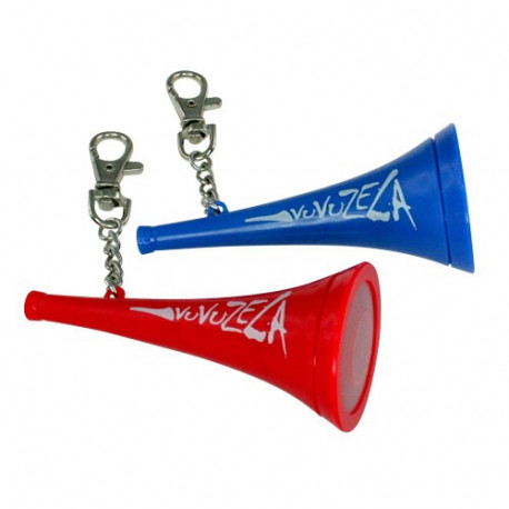 Tout le monde connait désormais la vuvuzela ; son fameux bruit de corne va retentir partout où vous irez avec ce porte-clés original et totalement décalé !