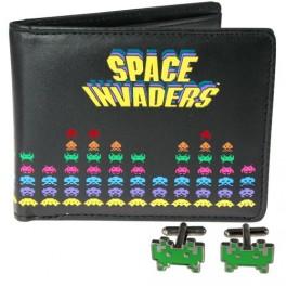 set portefeuille et boutons de manchette sérigraphiés space invaders