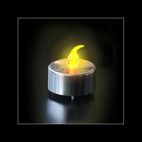 Bougie à Led Argentée Flamme Jaune