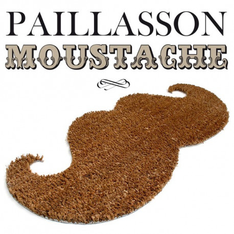 Paillasson en forme de moustache marron en fibres de coco naturelles