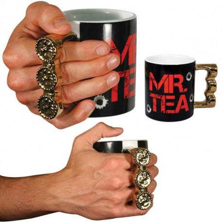 mug mr tea avec poignée en forme de bagues dorées
