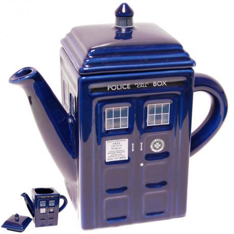 théière tardis dr who en céramique revisitée au goût de la série culte pour un instant thé.