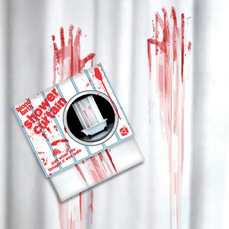rideau de douche avec trace de main ensanglantée