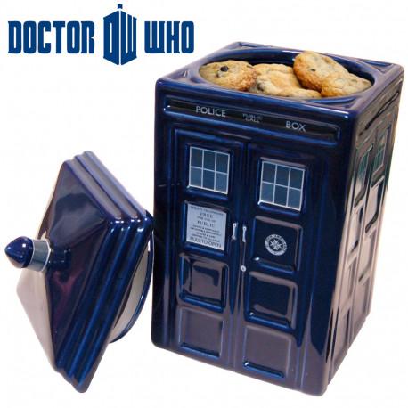 tardis,boîte à gâteaux en céramique,la machine à voyager du docteur who devient une boîte à cookies.
