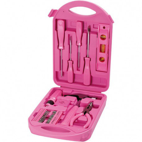 Cette mallette rose renferme une multitude d'outils de bricolage...